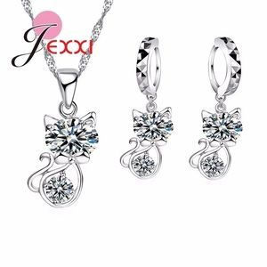 Cute cat silver necklace and earrings set